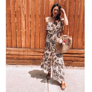 Bare Moon The Label Dara Palm Print Jumpsuit